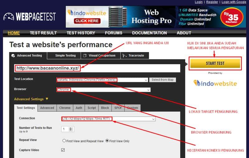 tampiilan tools webpagetest