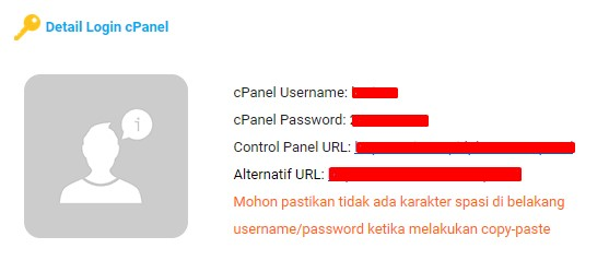 detail login cpanel