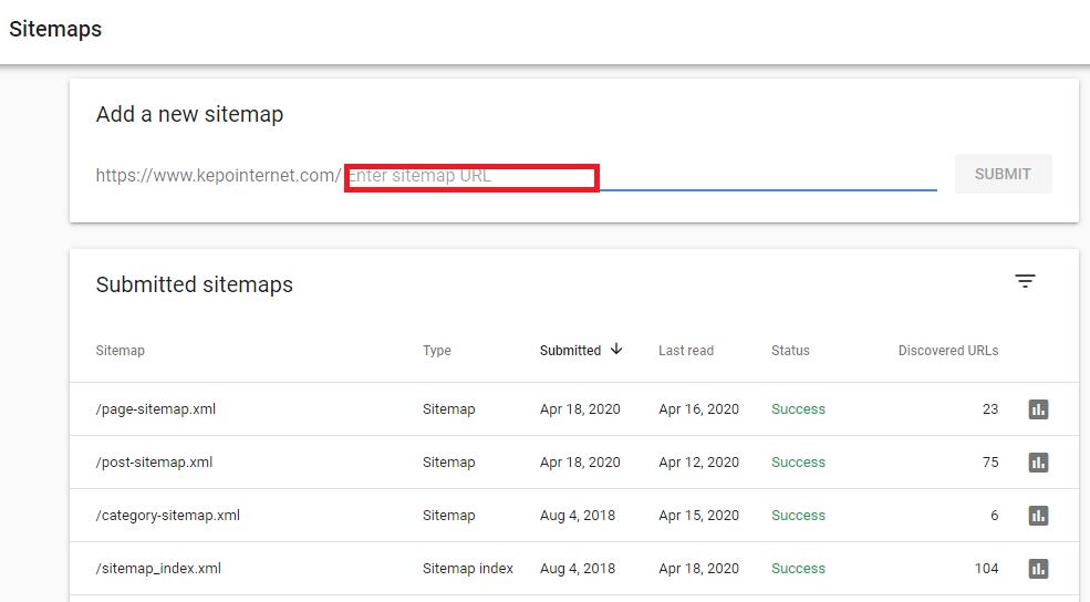 Masukkan peta situs di search console Google