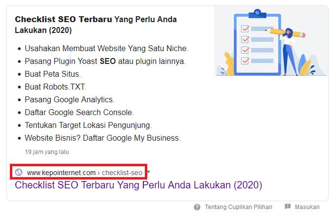 Contoh tampilan breadcrumbs di mesin pencari Google