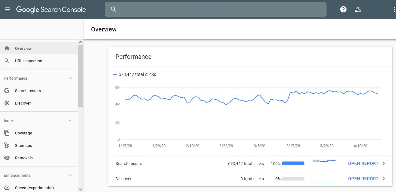 tampilan dasbor search console Google