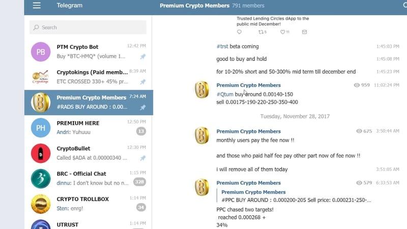 grup berbayar untuk cryptocurrency