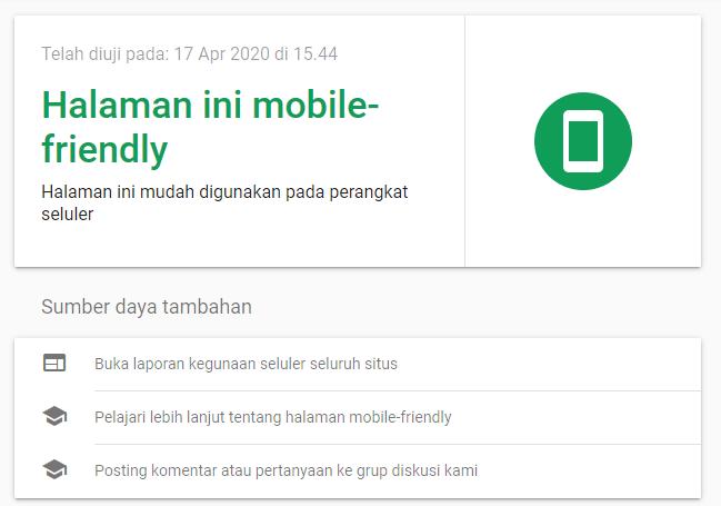 Hasil Pemeriksaan Website Mobil Friendly