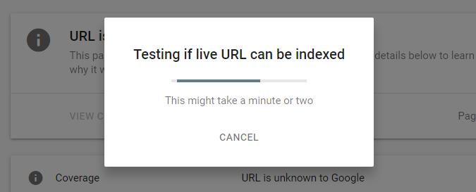 Tunggu sampai permintaaan Index selesai diproses