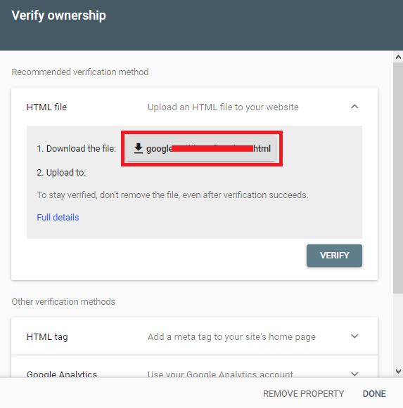 download file HTML untuk verifikasi