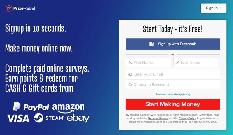 website prizerebel untuk survey online