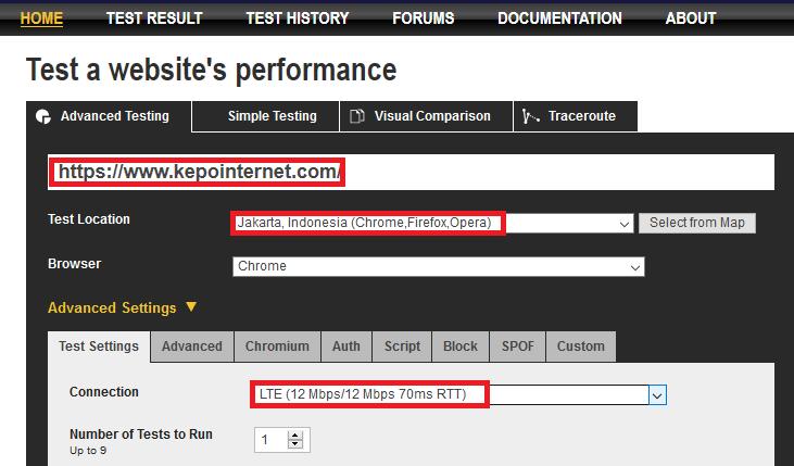 Pengaturan Webpagetest