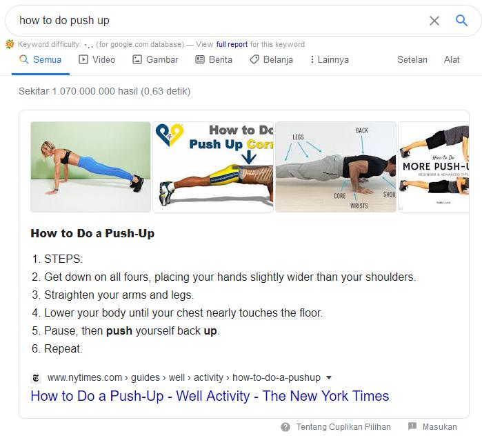 featured snippet di Google