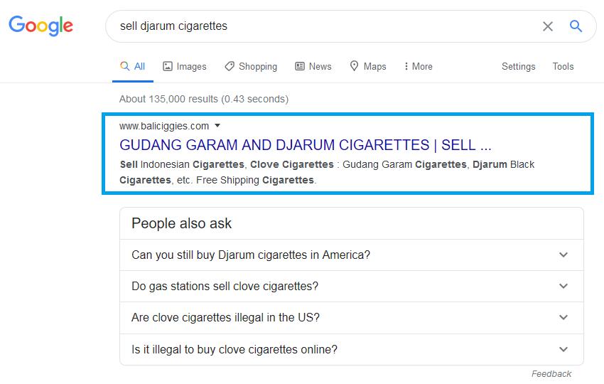 hasil pemasangan backlink sell djarum cigarettes