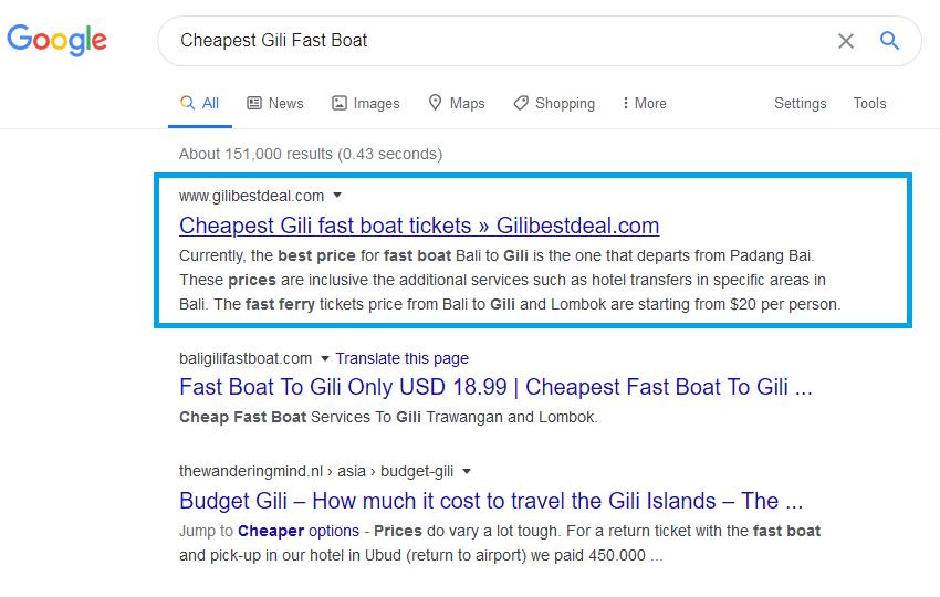 hasil pemasangan backlink cheapest gili fast boat