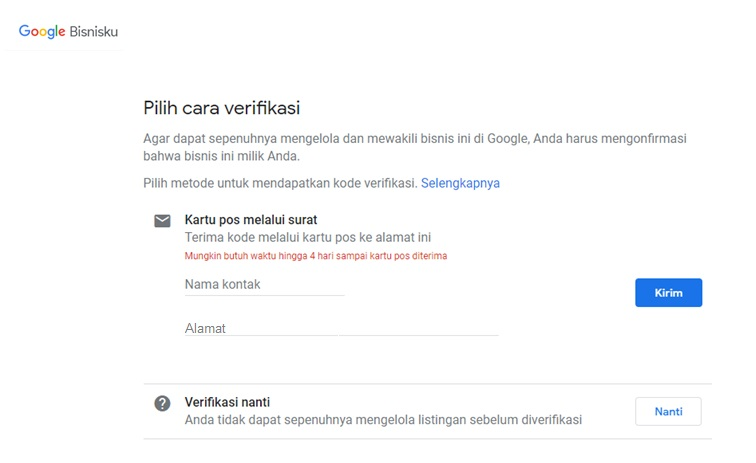verifikasi akun Google My Business
